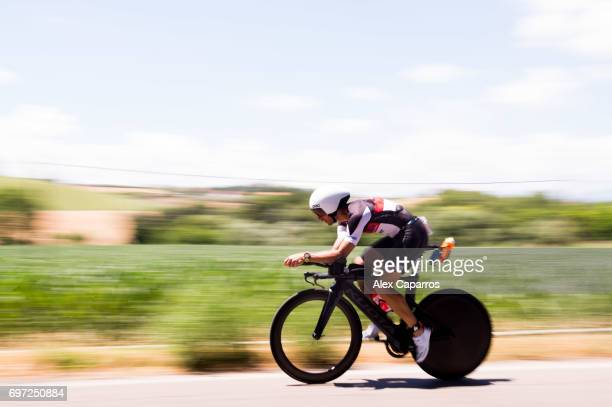 Athletes compete during the bike leg of Ironman 703 Italy race on June 18 2017 in Pescara Italy