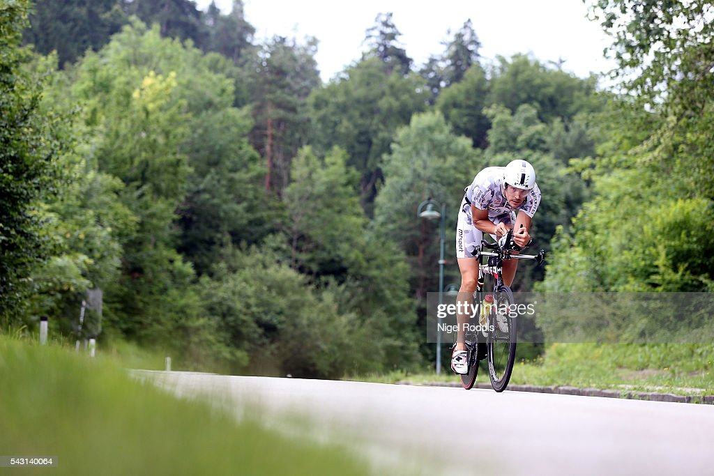 Athletes compete during the bike section of Ironman Austria on June 26, 2016 in Klagenfurt, Austria.