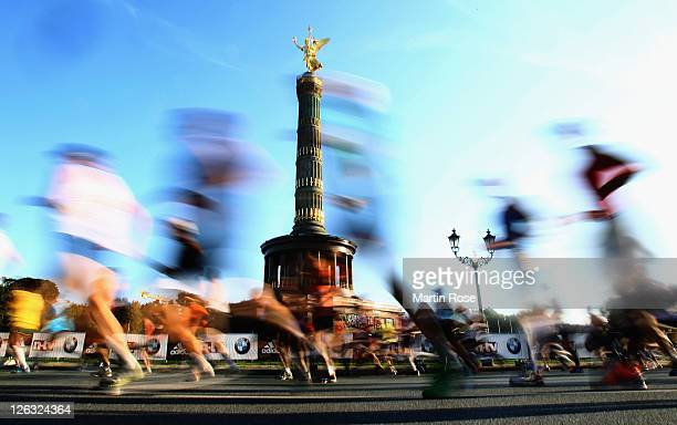Athletes compete during the BMW Berlin Marathon on September 25 2011 in Berlin Germany