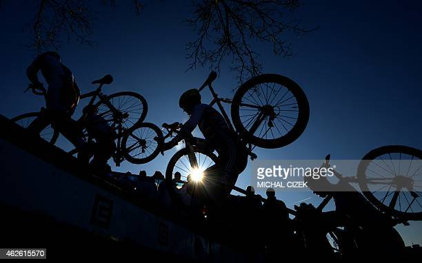 Athletes compete during the Men Under 23 race at the UCI cyclocross World championships on February 01 2015 in Tabor Czech Republic Michael...