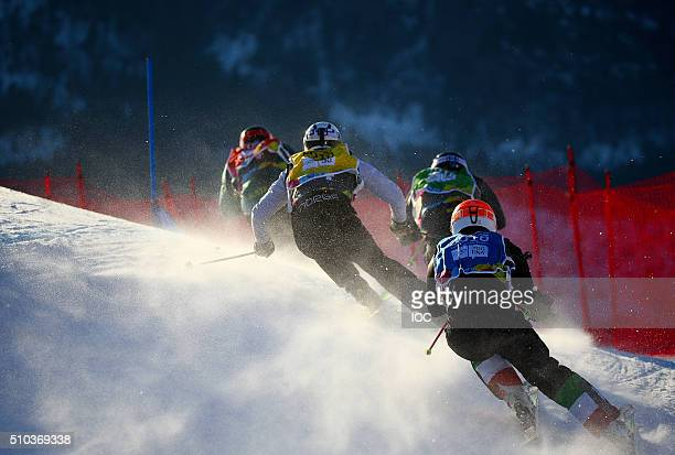 Athletes compete during the Men's Ski Cross semifinals at the Hafjell Freepark during the Winter Youth Olympic Games on February 15 2016 in...