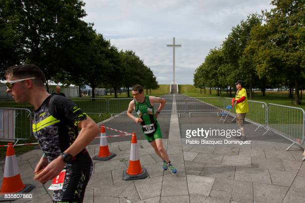 Athletes compete during the run leg of IRONMAN 703 Dublin on August 20 2017 in Dublin Ireland