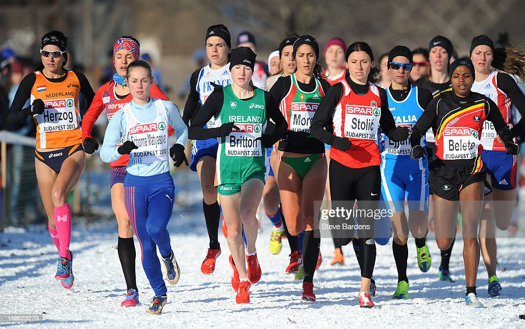 Athletes compete during the Senior Women's race during the 19th SPAR European Cross Country Championships on December 9, 2012 in Budapest, Hungary.