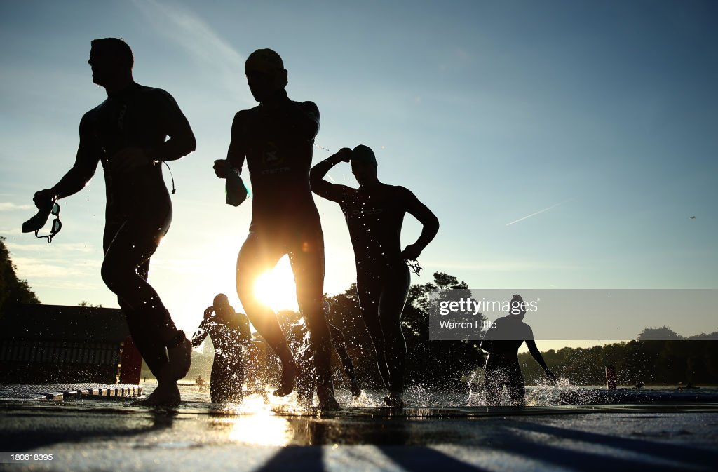 Athletes compete during the Standard Distance Age-Group PruHealth ITU World Triathlon Grand Final London at Hyde Park on September 15, 2013 in London, England.