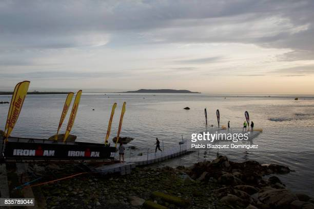 Athletes compete during the swim leg of IRONMAN 703 Dublin on August 20 2017 in Dublin Ireland