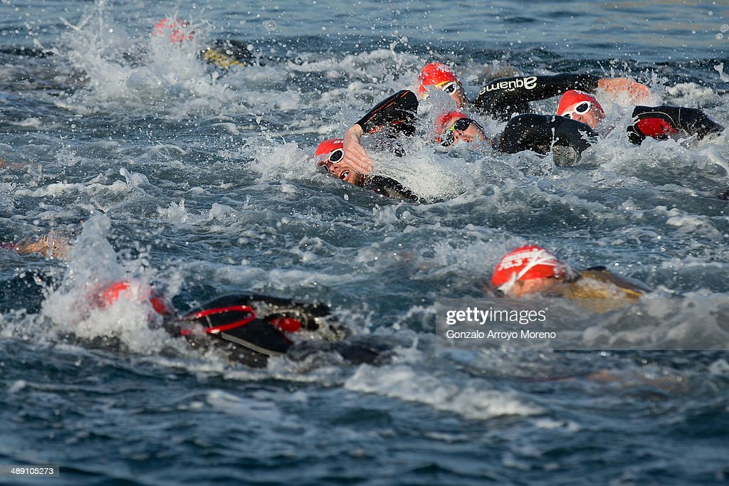 Athletes compete during the swimming course during the Ironman 70.3 Mallorca at Alcudia Bay on May 10, 2014 in Mallorca, Spain.