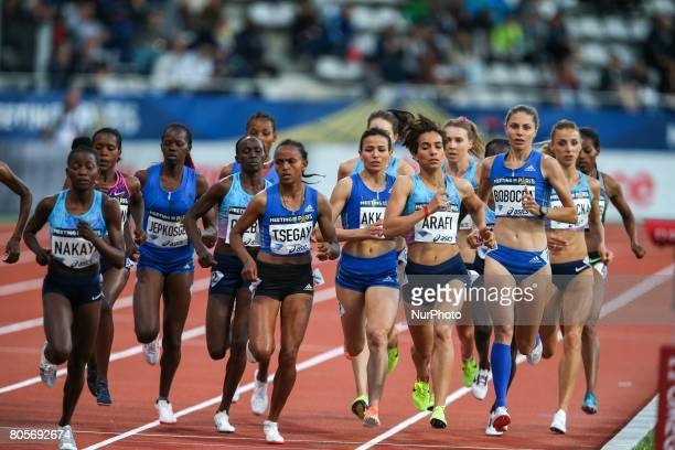 Athletes compete during the women's 1500 meters within the International Association of Athletics Federations Diamond League in Paris France on July...