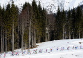 Athletes compete during the Women's 30 km Mass Start Free during day 15 of the Sochi 2014 Winter Olympics at Laura Crosscountry Ski Biathlon Center...