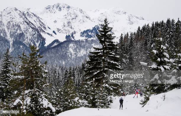 Athletes compete during the Women's 4x 6km relay competition of the BMW IBU World Cup Biathlon on December 10 2017 in Hochfilzen Austria