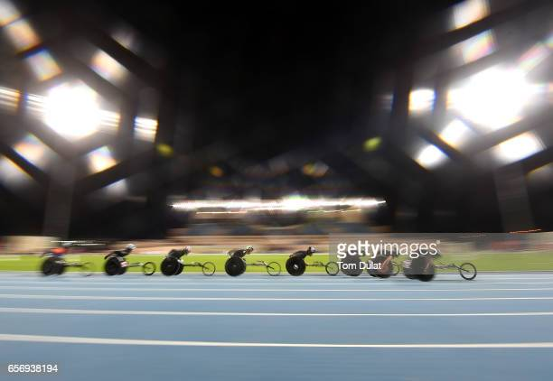 Athletes compete in 5000m Wheelchair Men's final during the 9th Fazza International IPC Athletics Grand Prix Competition World Para Athletics Grand...