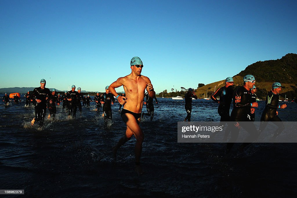 Athletes compete in Elite Men's race during the Port of Tauranga Half Ironman on January 5, 2013 in Tauranga, New Zealand.