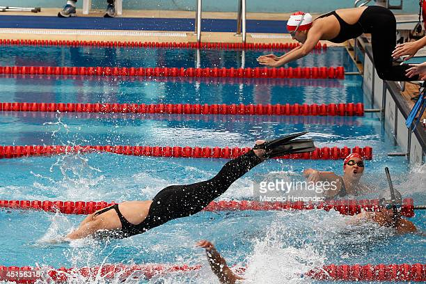 Athletes compete in Mixed 4 x 50 mts freestyle Finswimming event as part of the XVII Bolivarian Games Trujillo 2013 at pools complex of Mansiche...