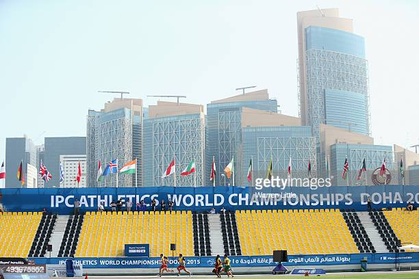 Athletes compete in Round 1 of the Women's 400m T11 during the Morning Session on Day One of the IPC Athletics World Championships at Suhaim Bin...