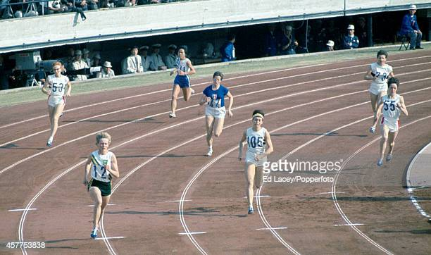 The semifinal of the women's 400 metres event during the Summer Olympic Games in Tokyo circa October 1964 Left to right Joy Grierson of Great Britain...