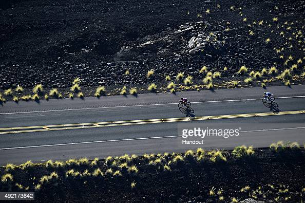 Athletes compete in the 112mile bicycle rides during the IRONMAN World Championship presented by GoPro on October 10th 2015 Kailua Kona Hawaii...