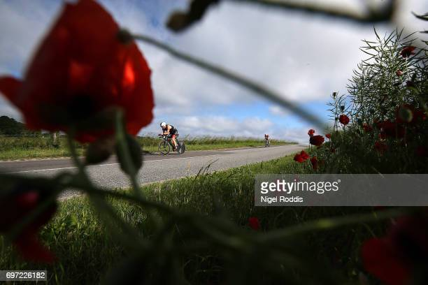 Athletes compete in the bike section of the KMD IRONMAN 703 European Championship Elsinore on June 18 2017 in Helsingor Denmark