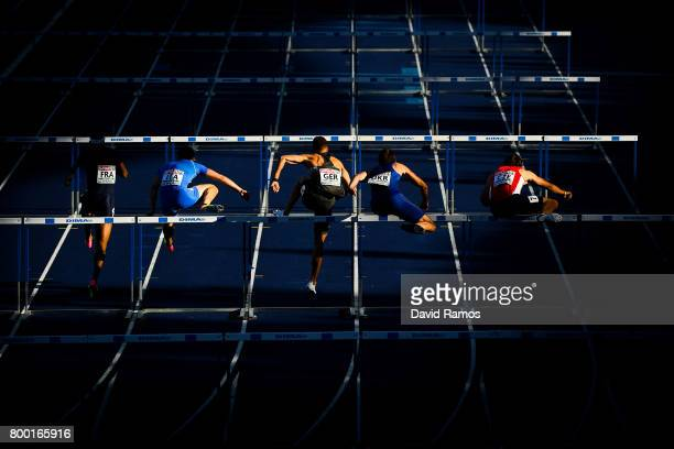 Athletes compete in the Men's 110m Hurdles during day 1 of the European Athletics Team Championships on June 23 2017 in Lille France