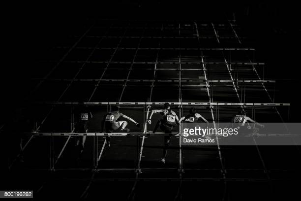 Athletes compete in the Men's 110m Hurdles during day 1 of the European Athletics Team Championships at the Lille Metropole stadium on June 23 2017...