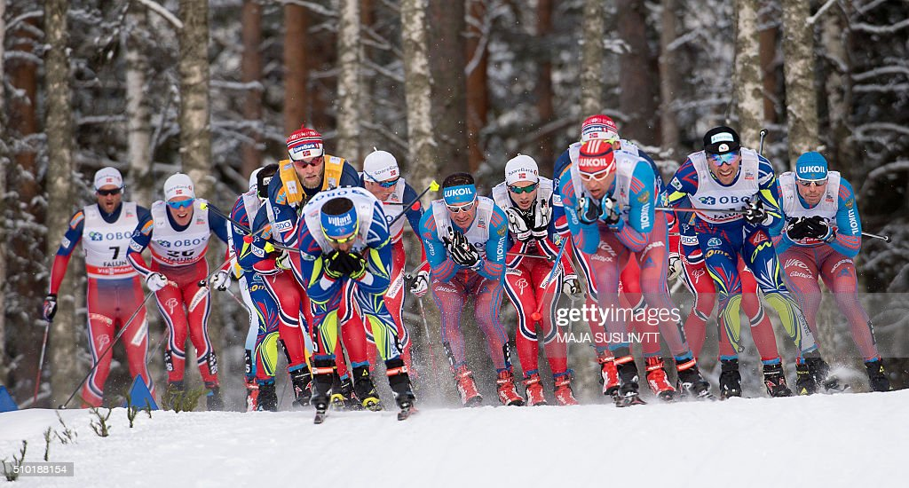 Athletes compete in the men's 15 km freestyle competition at the FIS Cross-Country World Cup in Falun, Sweden, February 14, 2016. / AFP / TT News Agency / Maja Suslin/TT / Sweden OUT