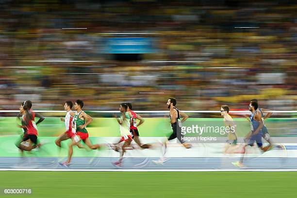 Athletes compete in the Men's 1500m T13 final on day 4 of the Rio 2016 Paralympic Games at Olympic Stadium on September 11 2016 in Rio de Janeiro...