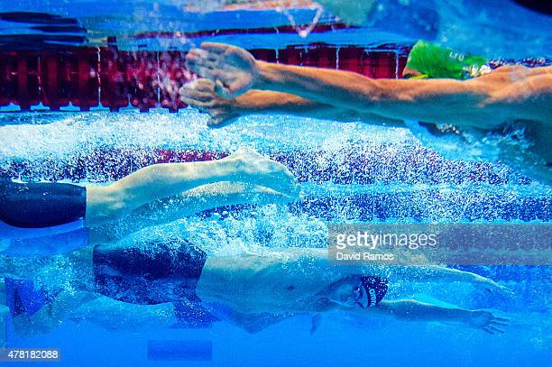 Athletes compete in the Men's 200m Breaststroke semifinal during day eleven of the Baku 2015 European Games at the Baku Aquatics Centre on June 23...