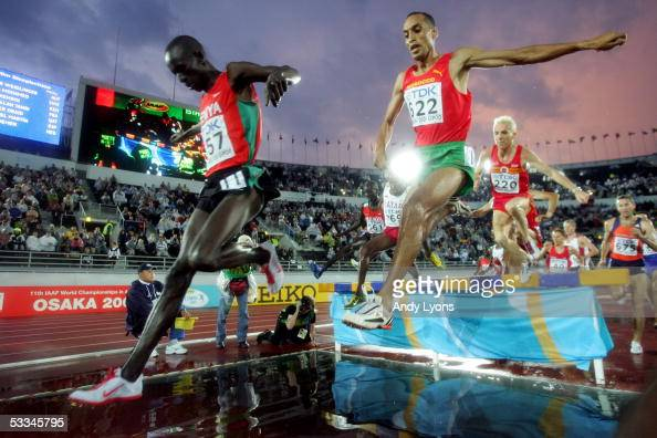 Athletes compete in the mens 3000 metres Steeplechase final at the 10th IAAF World Athletics Championships on August 9 2005 in Helsinki Finland Saif...