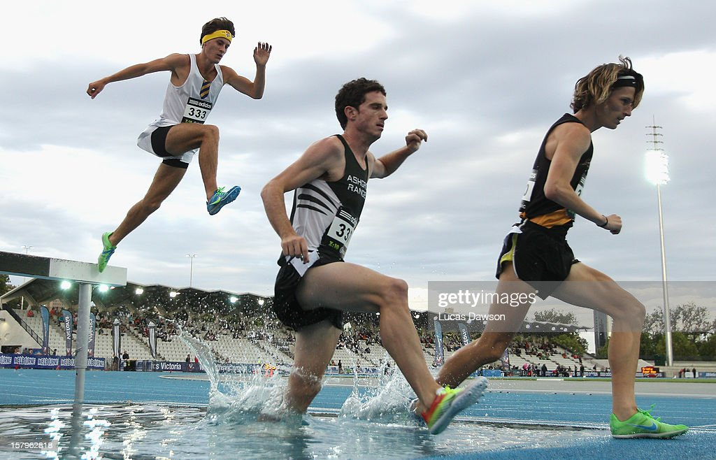 Athletes compete in the Mens 3000 Steeplechase Open during the Zatopek Classic at Lakeside Stadium on December 8, 2012 in Melbourne, Australia.