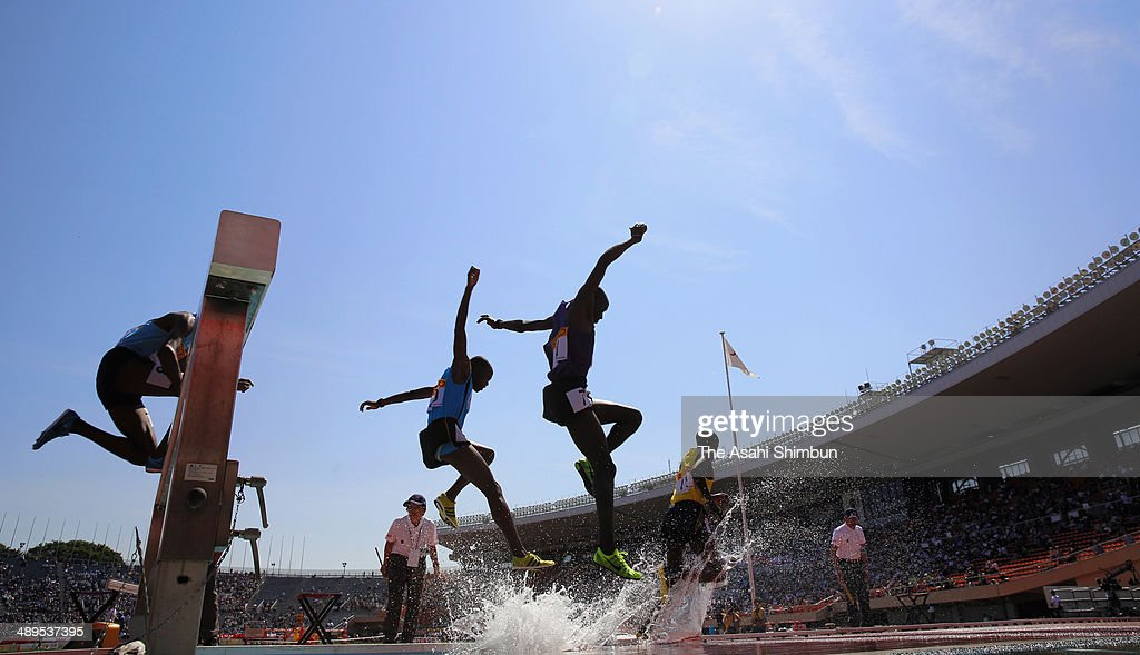 Athletes compete in the Men's 3,000m Steeplechase during the Seiko Golden Grand Prix Tokyo 2014 at National Stadium on May 11, 2014 in Tokyo, Japan.