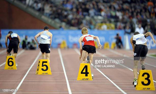 Athletes compete in the men's 400m reverse at the Memorial Ivo Van DammeDiamond League athletics meeting in Brussels on September 16 2011 AFP PHOTO /...