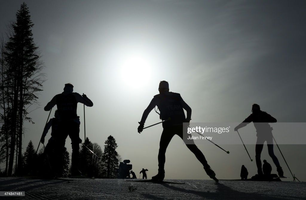 Athletes compete in the Men's 50 km Mass Start Free during day 16 of the Sochi 2014 Winter Olympics at Laura Cross-country Ski & Biathlon Center on February 23, 2014 in Sochi, Russia.