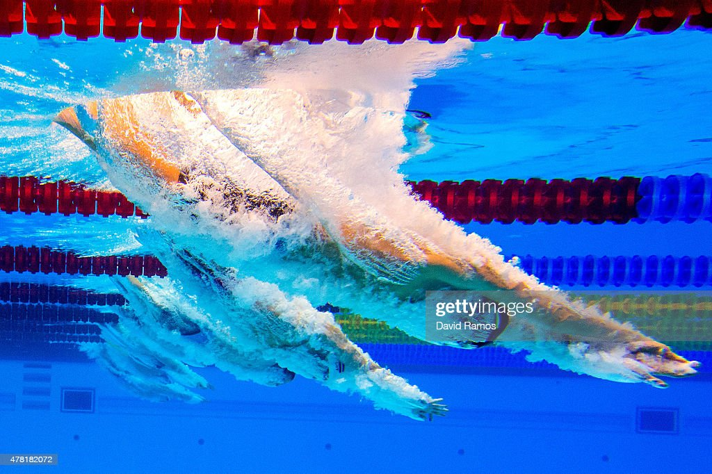 Athletes compete in the Men's 50m Butterfly semifinal during day eleven of the Baku 2015 European Games at the Baku Aquatics Centre on June 23 2015...