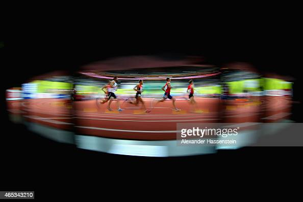 Athletes compete in the Men's 800 metres rounds during day one of the 2015 European Athletics Indoor Championships at O2 Arena on March 6 2015 in...