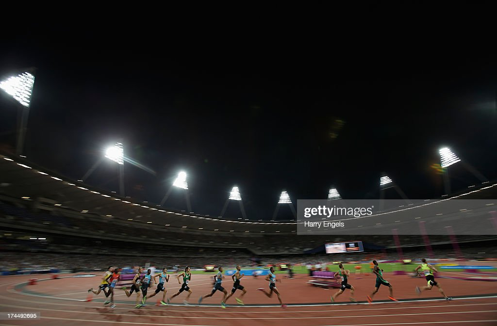 Athletes compete in the Men's 800m on day one during the Sainsbury's Anniversary Games - IAAF Diamond League 2013 at The Queen Elizabeth Olympic Park on July 26, 2013 in London, England.