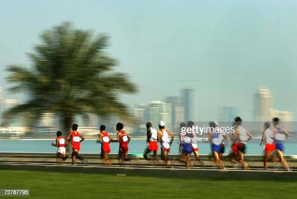 Athletes compete in the Men's Marathon Final during the 15th Asian Games Doha 2006 at Qatar at the Marathon Street Circuit on December 10 2006 in...