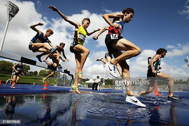 Athletes compete in the Men's steeplechase final during the Australian Athletics Championships at Sydney Olympic Park on April 3 2016 in Sydney...
