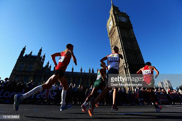 Athletes compete in the Mens T46 T12 Marathon near Westminster and the Houses of Parliament on day 11 of the London 2012 Paralympic Games at Olympic...