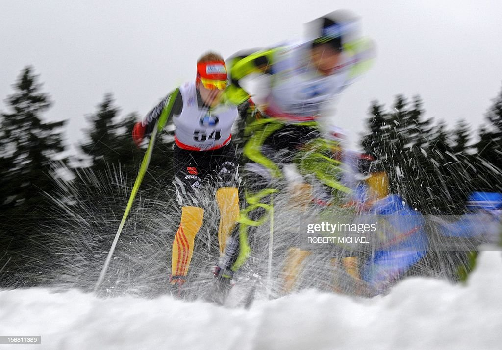 Athletes compete in the men's Tour de Ski cross-country 15-kilometer pursuit competition on December 30, 2012 in Oberhof, eastern Germany.