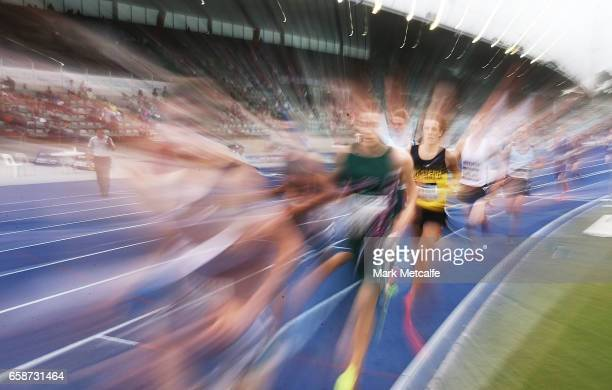 Athletes compete in the mens under 20s steeplechase on day three of the 2017 Australian Athletics Championships at Sydney Olympic Park Sports Centre...