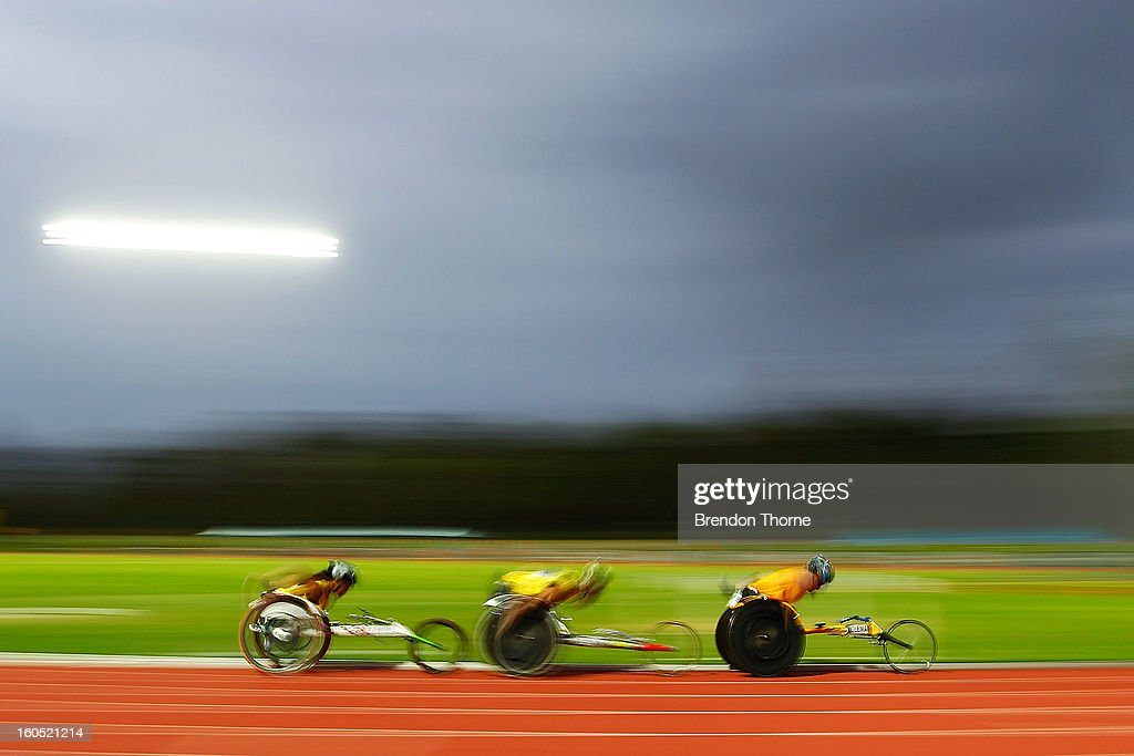 Athletes compete in the Mixed 2000 metre Wheelchair race during the Hunter Track Classic on February 2, 2013 in Newcastle, Australia.