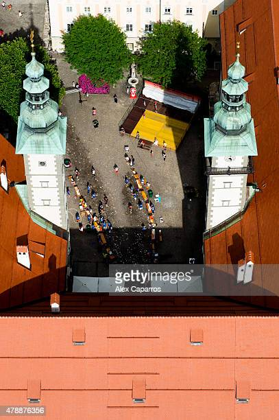 Athletes compete in the run leg of the race during Ironman Klagenfurt on June 28 2015 in Klagenfurt Austria