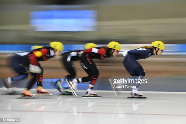 Athletes compete in the speed skating ladies mass start on the day six of the 2017 Sapporo Asian Winter Games at Obihiro forest speed skating oval on...