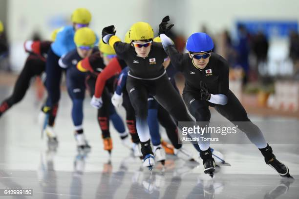 Athletes compete in the speed skating mens mass start on the day six of the 2017 Sapporo Asian Winter Games at Obihiro forest speed skating oval on...
