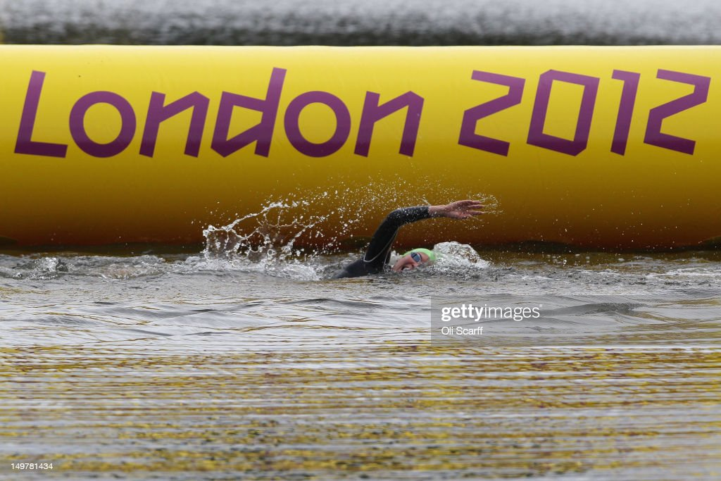 Athletes compete in the swimming stage of the Women's Triathlon on Day 8 of the London 2012 Olympic Games in Hyde Park on August 4, 2012 in London, England.