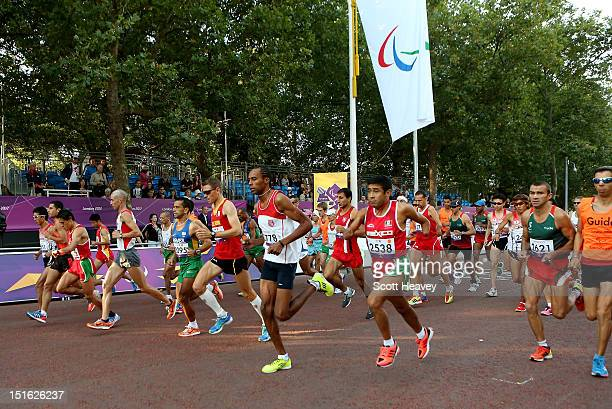 Athletes compete in the T12 and T46 Men's Marathon on day 11 of the London 2012 Paralympic Games on The Mall on September 9 2012 in London England