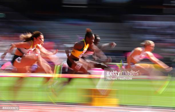 Athletes compete in the Women's 100 metres hurdles heats during day eight of the 16th IAAF World Athletics Championships London 2017 at The London...
