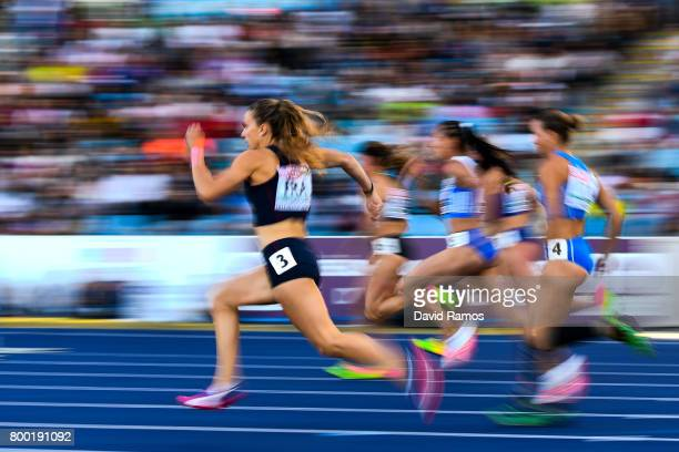 Athletes compete in the Women's 100m Hurdles heat 1 during day 1 of the European Athletics Team Championships at the Lille Metropole stadium on June...