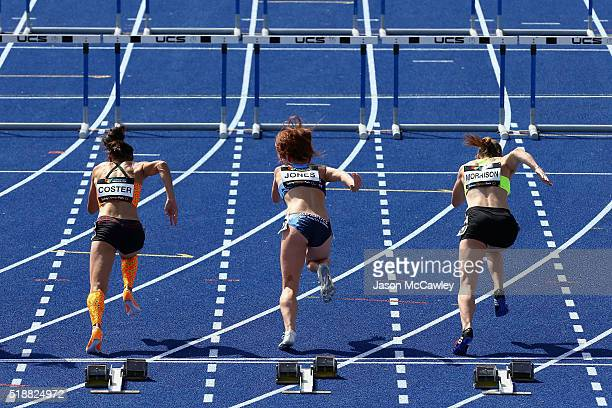 Athletes compete in the womens 100m hurdles prelim final during the Australian Athletics Championships at Sydney Olympic Park on April 3 2016 in...