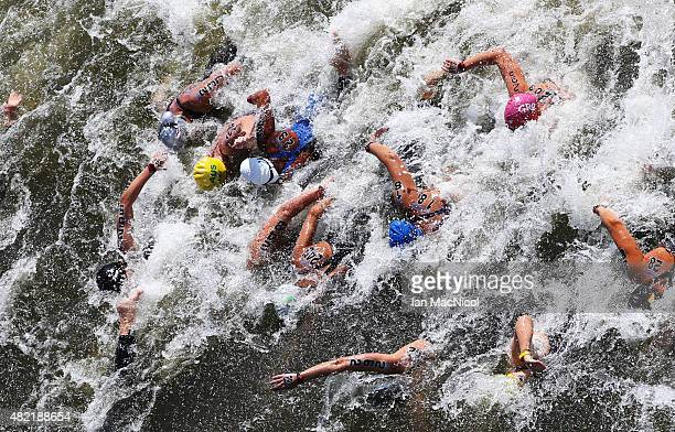 Athletes compete in the Women's 10km Open water during day four of the16th Fina World Aquatics Championships on July 28 2015 at the Kazanka River in...