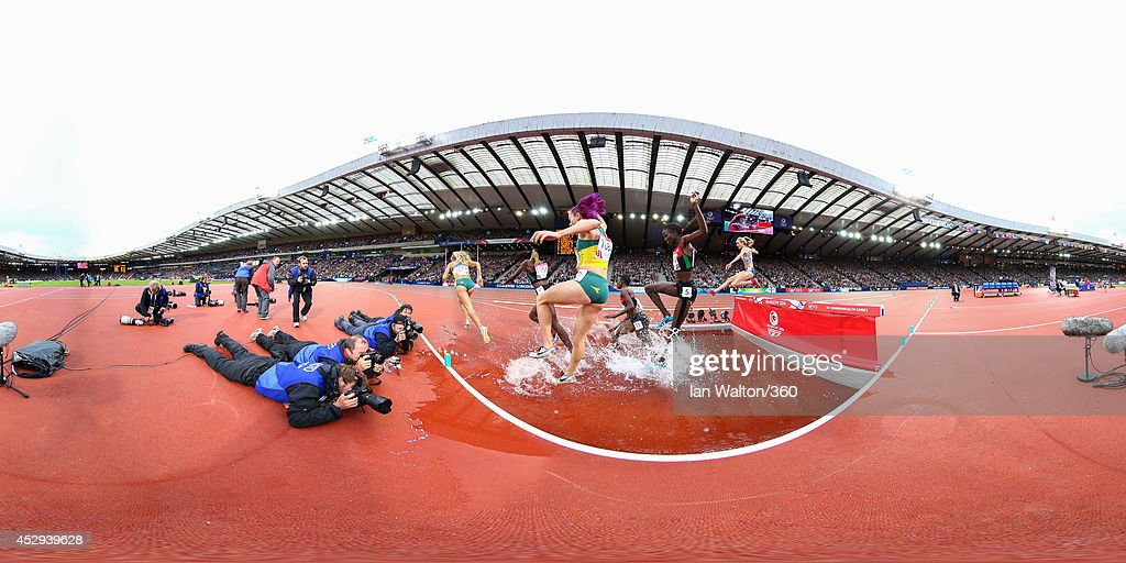Athletes compete in the Women's 3000 metres Steeplechase at Hampden Park during day seven of the Glasgow 2014 Commonwealth Games on July 30, 2014 in Glasgow, United Kingdom.