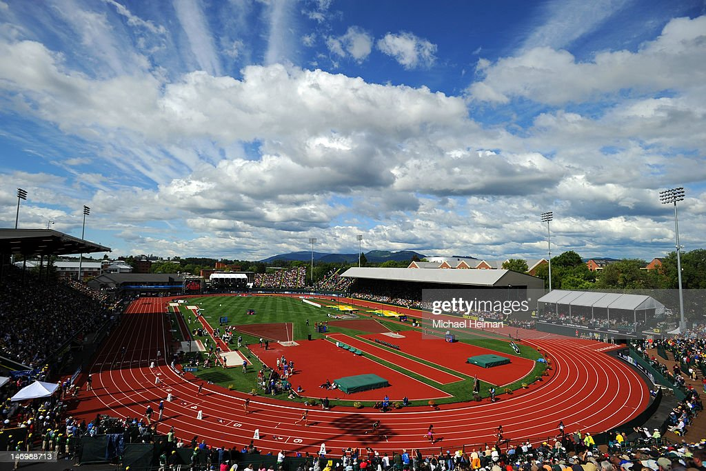 Athletes compete in the women's 400 meter dash final during Day Three of the 2012 US Olympic Track Field Team Trials at Hayward Field on June 24 2012...